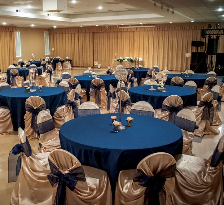 Christopher Hall Wedding - Royal Blue Tables